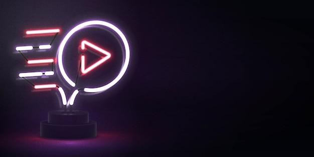 Letrero de neón aislado realista del logotipo del reproductor de video para decoración y revestimiento. concepto de redes sociales y estudio cinematográfico.