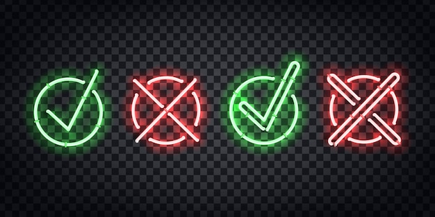 Letrero de neón aislado realista del logotipo de tick and cross para decoración y revestimiento en el fondo transparente.