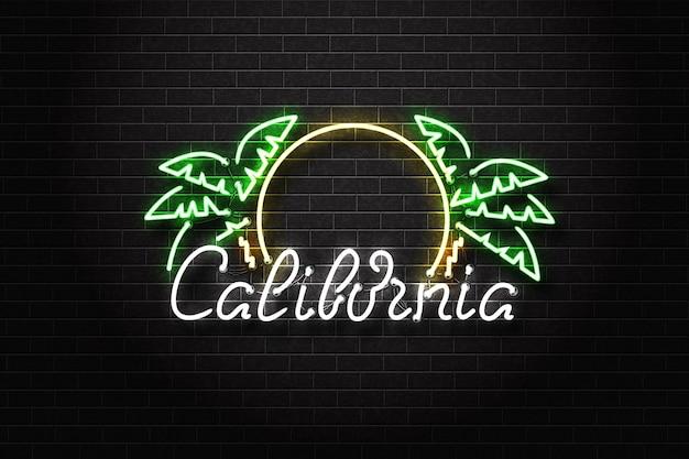 Letrero de neón aislado realista del logotipo de tipografía de california en el fondo de la pared.