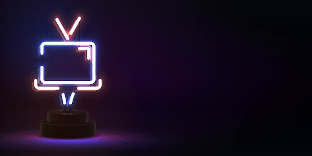 Letrero de neón aislado realista del logotipo de tv para decoración de plantilla y cubierta de invitación. concepto de cine.