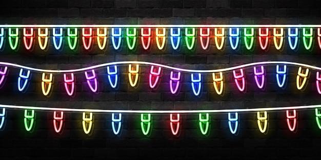 Letrero de neón aislado realista de luces navideñas