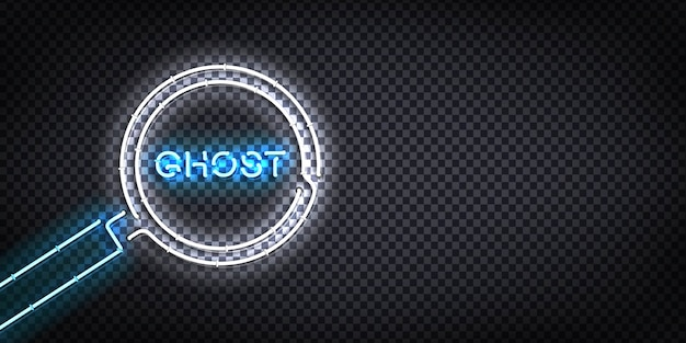 Letrero de neón aislado realista de lupa con letras fantasma