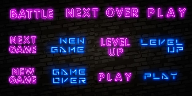 Letrero de neón aislado realista de nuevo juego, subir de nivel y terminar el juego