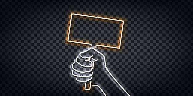 Letrero de neón aislado realista de puño sosteniendo un logotipo de letrero de protesta para la decoración de la plantilla y el diseño que cubre el fondo transparente.