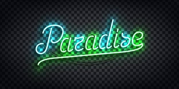 Letrero de neón aislado realista de la tipografía paradise