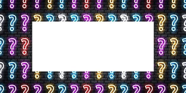 Letrero de neón aislado realista del volante de preguntas.