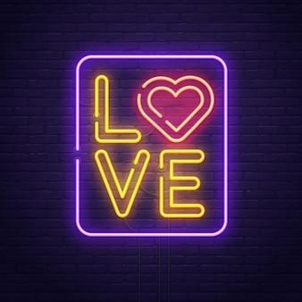 Letrero de neón de amor