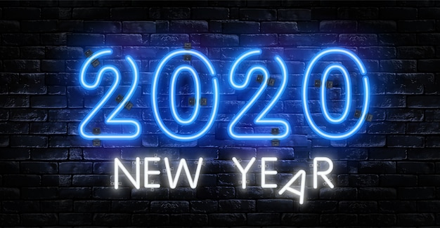 Letrero de neón año nuevo 2020