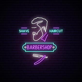 Letrero de neón de barbería.
