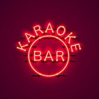 Letrero de neón de la barra de karaoke en el fondo rojo.