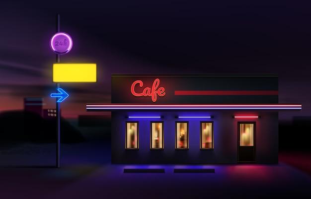 Letrero de neón brillante retro y símbolo de flecha eléctrica un puntero al café. aislado en el fondo del paisaje