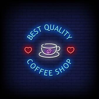 Letrero de neón de cafetería en pared de ladrillo