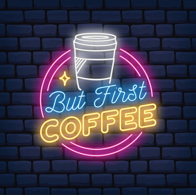 Letrero de neón de cafetería