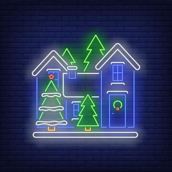 Letrero de neón de la casa de navidad