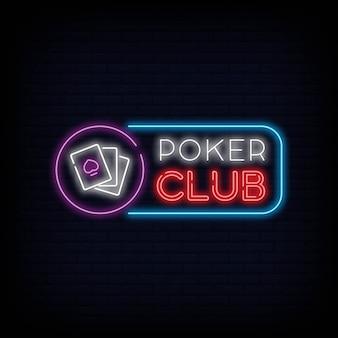 Letrero de neón del club de póquer.