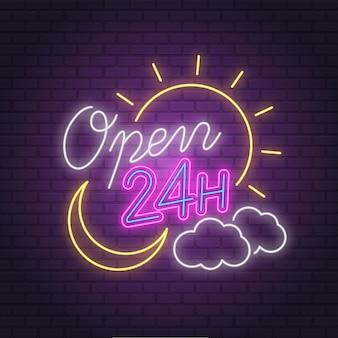 Letrero de neón colorido abierto las 24 horas
