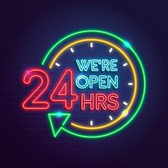 Letrero de neón con concepto abierto las 24 horas.