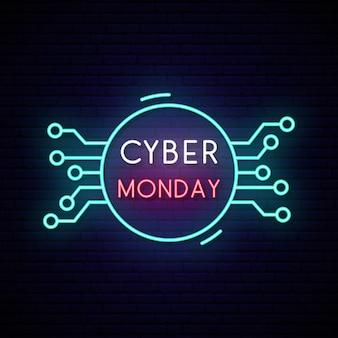 Letrero de neón cyber monday. signo de venta brillante.