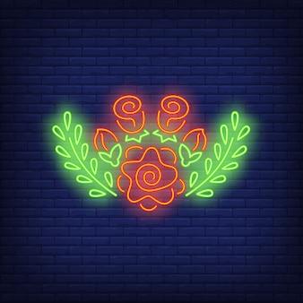 Letrero de neón de decoración floral.