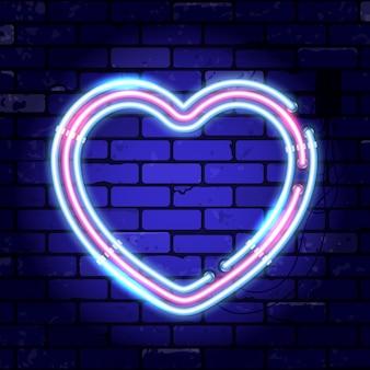 Letrero de neón del día de san valentín con corazón.