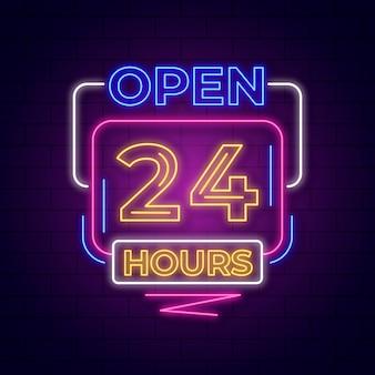 Letrero de neón con diseño abierto las 24 horas.