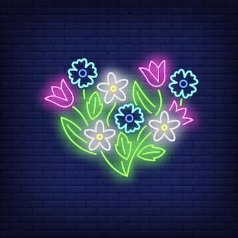 Letrero de neón emblema de flor