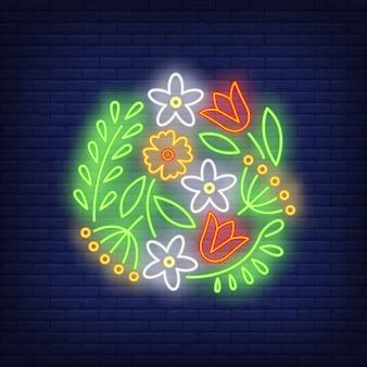 Letrero de neón de emblema de flor