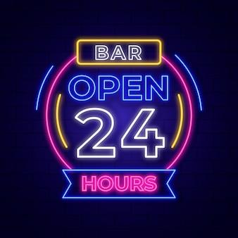 Letrero de neón con estilo abierto las 24 horas.