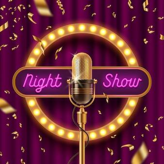 Letrero de neón, fama con bombillas y micrófono retro en el escenario contra la cortina púrpura y la caída de confeti dorado.