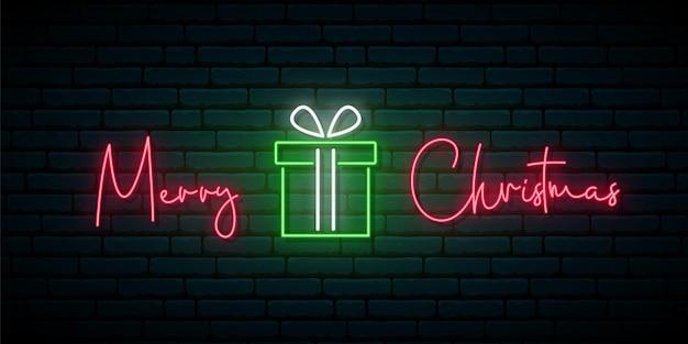 Letrero de neón feliz navidad saludo banner