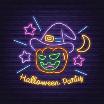 Letrero de neón de fiesta de halloween