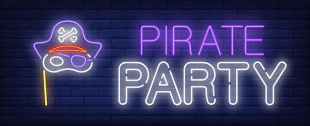 Letrero de neón fiesta pirata