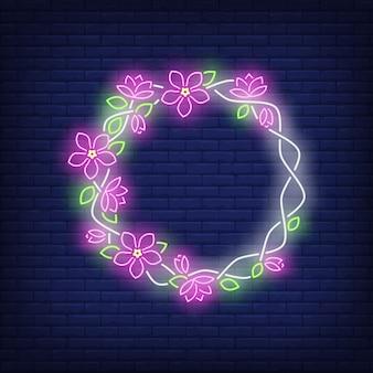Letrero de neón floral marco redondo