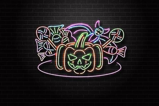 Letrero de neón de halloween con calabaza