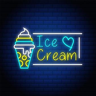 Letrero de neón de helado con símbolo de corazón