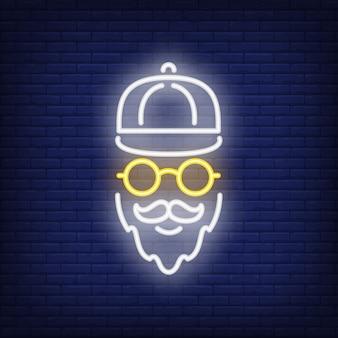 Letrero de neón hipster barbudo