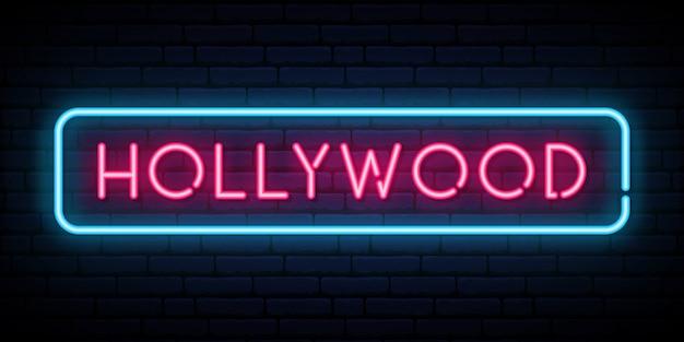 Letrero de neón de hollywood.