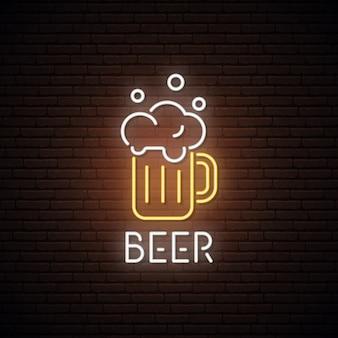 Letrero de neón de la jarra de cerveza.