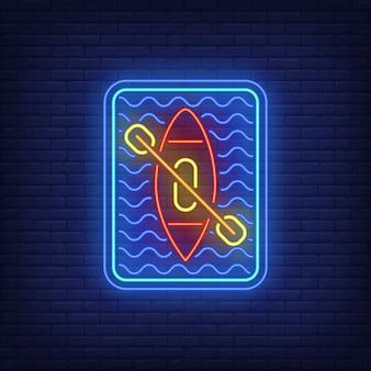 Letrero de neón kayak