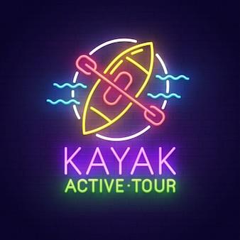 Letrero de neón de kayak
