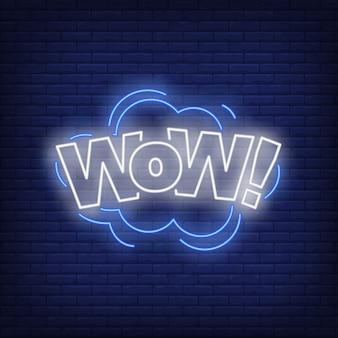 Letrero de neón de letras wow