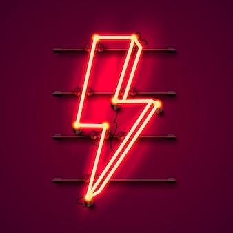 Letrero de neón del letrero del relámpago en el fondo rojo. ilustración vectorial