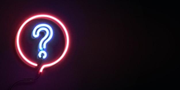 Letrero de neón del logotipo de quiz con espacio de copia
