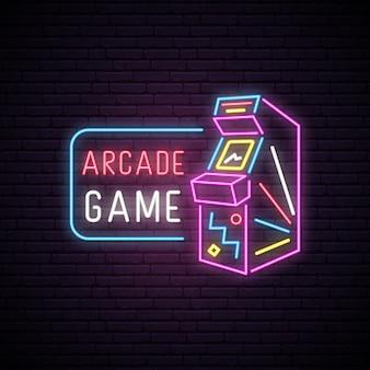 Letrero de neón de la máquina de juego arcade.
