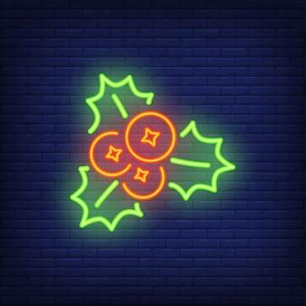 Letrero de neón con mistletoes. elemento de anuncio brillante de la noche.