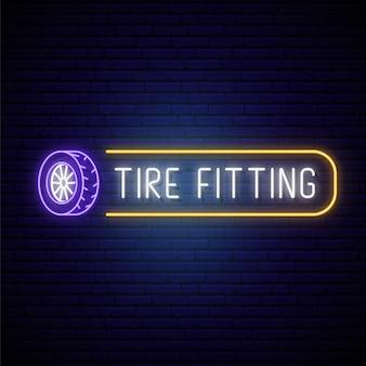Letrero de neón de montaje de neumáticos