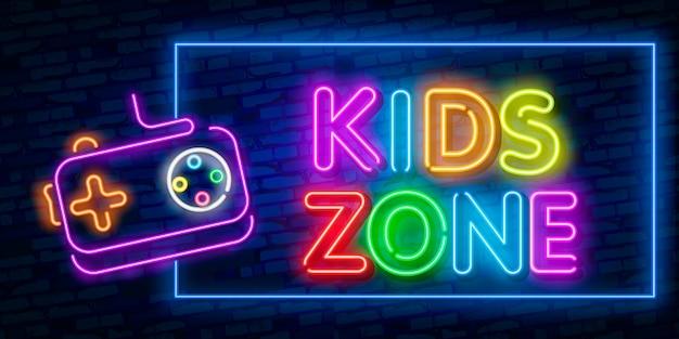 Letrero de neón de la plantilla de diseño de kids zone, estandarte de luz, letrero de neón, publicidad nocturna brillante, inscripción de luz. ilustracion vectorial