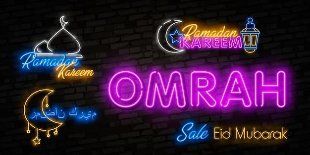 Letrero de neón ramadan kareem con letras y luna creciente contra