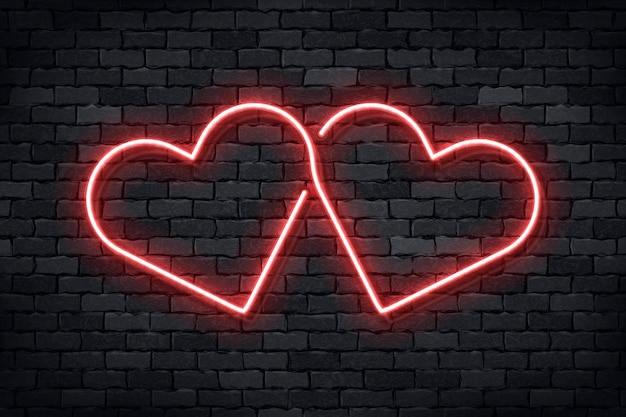 Letrero de neón realista de corazones para el día de san valentín