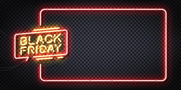 Letrero de neón realista del logotipo de black friday para plantilla
